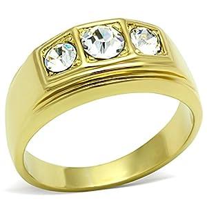 ISADY - Benny - Herren-Ring - 585er 14K Gold platiert - Zirkonium Transparent
