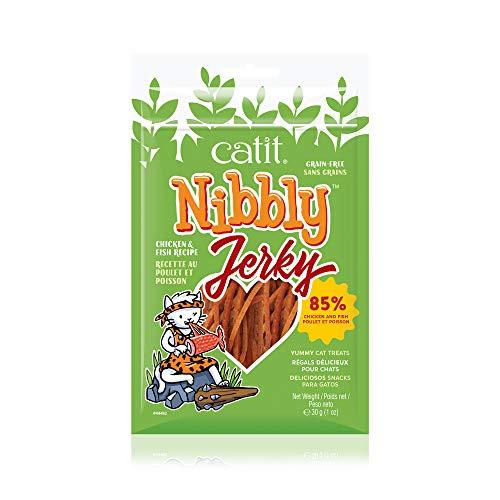 Catit Nibbly Jerky Kaustreifen für Katzen aus leckerem Hühnerbrustfilet und Fisch, 30 g