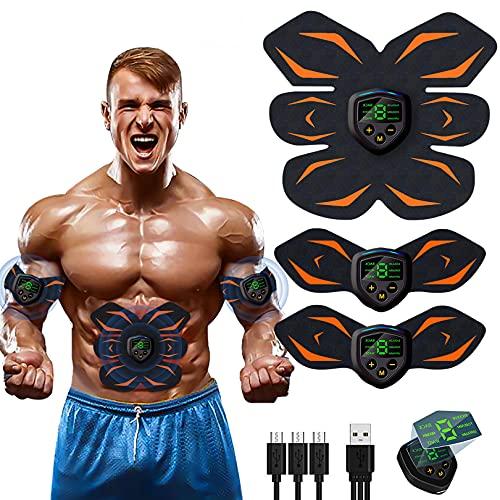 LEMENG Elettrostimolatore Muscolare ABS,EMS Stimolatore Muscolare,Elettrostimolatore per Addominali USB Ricaricabile per Uomo e Donna Addome Braccio Vita Gambe
