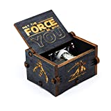 Boîte à musique en bois noire de Star Wars, décorations antiques sculptées à la main...