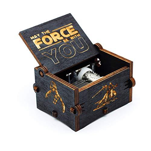 Carillon di legno nero di Star Wars, scatole musicali in legno intagliate a mano e intagliate a mano