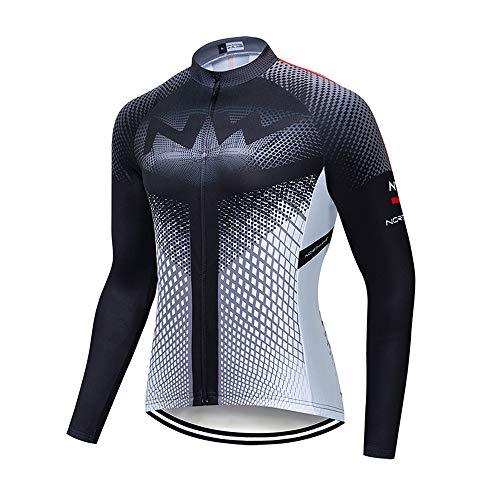 Camiseta Bicicleta Largo Térmico, Maillot Ciclismo Hombre Invierno de Manga Larga