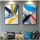 cuadros decoracion salon Nórdico colorido abstracto pluma arte de la pared lienzo pintura azul amarillo acuarela póster impresión cuadro de pared para decoración de sala de estar 15.7x19.7in (40x50c
