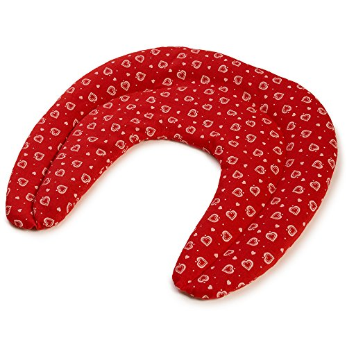 Pequeña almohada de cuello | Saco cervical térmico de semillas | Cojín compartimentado para huesos de cerezas (color: rojo con corazones)