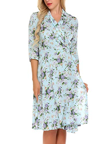 Women's Vintage Floral Print V Neck Short Sleeve Beach Dress $13.99 (50% off with code)