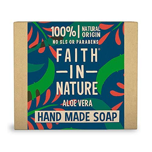 Faith in Nature Natürliche Aloe Vera Handseife, Verjüngend, Vegan & Ohne Tierversuche, Frei von Parabenen und SLS, 100 g