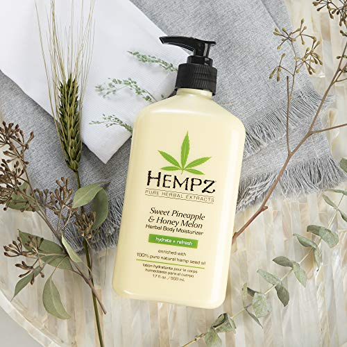 Hempz Sweet Pineapple & Honey Melon Moisturizing Skin Lotion, Natural Hemp Seed Herbal Body Moisturizer with Jojoba, Natural Extracts, Vitamin A and E, 17 oz