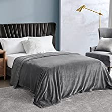 EHEYCIGA Manta Sofa Mantas para Cama Gris 150x200cm Microfibra Suave Acogedora Manta de Lujo para La Cama