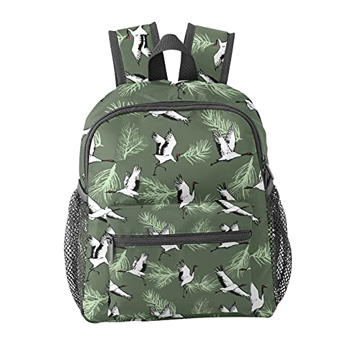 Japanese Crane Bird Pattern Backpack for Boys and Girls Perfect Size for Travel