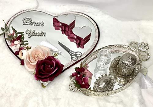 Generic Nazlimshop Nisan Tepsisi Damat fincan Set Trauring Tablett Verlobung Hochzeit Söz Yüzük Tepsi Ringtablett Ringkissen