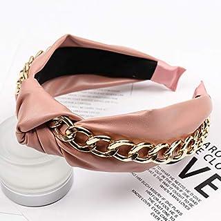 YJXUSHYQ البوهيمي بو الجلود بعقدة عصابة رأس للنساء الأزياء سلسلة الذهب مجوهرات الشعر سكرونشي (اللون: 1، الحجم: مجاني)