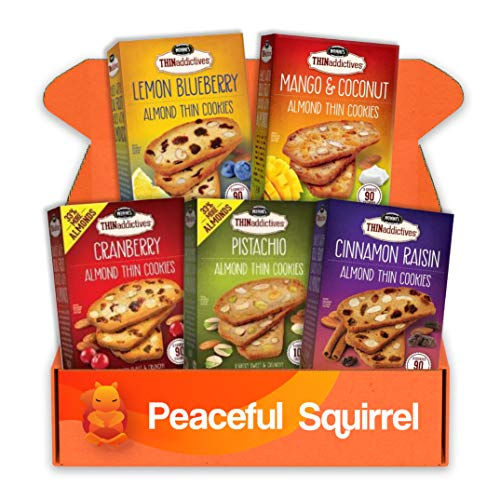 Peaceful Squirrel Variety, Nonni's THINaddictives, Almond Thin Cookies, Baked with Real Fruit - Variety of 5 Flavors, (1 Box of Each Flavor, 18 Cookies Per Box) - 4.4 Ounce