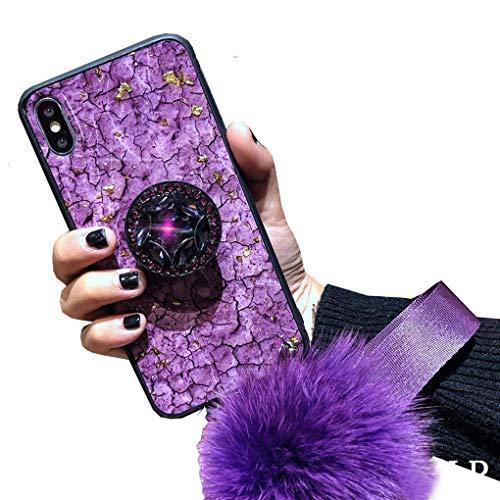 Homikon Silicone Coque Paillette Strass Brillante Glitter Diamant Ring Stand Holder Housse Etui de Protection TPU Gel Bumper Case avec Boule de Cheveux Compatible avec iPhone XS Max - Pourpre
