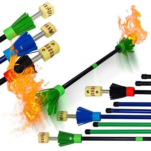 Flames N Games FIRE Flowerstick - Pro Flower Fire Devil Stick with Solid Fibre Core and T6 Aluminium...