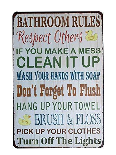 YUMBOR Metal Tin Sign Bathroom Rules Sign Wall Decor Funny House Decor Retro Poster 12x8 Inch,Aluminum Sign