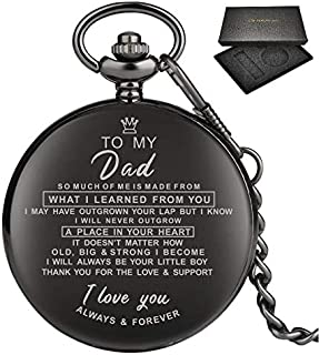 """""""I Love You"""" Quartz Pocket Watch Collection  Mesmerizing Gift For Dad, Mom, Son, Daughter, Husband, Wife & Girlfriend  Fascinating Timepiece"""