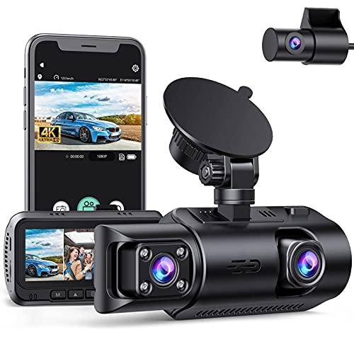 4K WiFi Dashcam 3 Lens mit GPS-Logger, Auto Kamera Vorne und Hinten 1440P + Dual 1080P Dash CAM mit IR Nachtsicht, Dual Dash Kamera Loop-Aufnahme, G-Sensor, 24/7 Parkmonitor und Max. 256GB