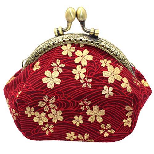 VALICLUD 1 Pieza de Patrón de Flor de Cerezo Cambio Monedero Vintage Bolsa de Almacenamiento