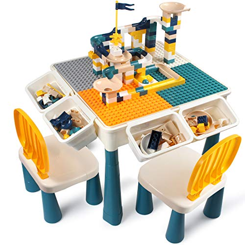 AMOSTING 7 in 1 Multi Kids Activity Height Adjustable Table Set with 2 Chairs and 100Pcs Large Size Blocks Compatible with Classic Blocks. Non-toxic and durable plastic Toy Storage for Boys Girls