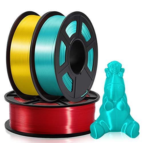 Filament Soie 1.75mm, 3KG, PLA Filament Soie, Enroulement ordonné amélioré, Aucun enchevêtrement, Soie Rouge + Jaune + Vert
