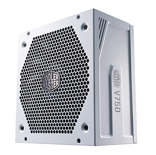 Cooler Master V750 Gold - V2 Bloc d'alimentation, prise EU - 650W, 80 Plus Gold, Modulaire, alimentation ATX, ventilateur FDB 135mm, mode semi-passif, garantie 10 ans, câbles 16AWG PCI-e - Blanc