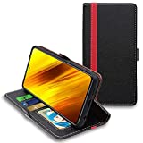 ebestStar - kompatibel mit Xiaomi Poco X3 NFC Hülle Kunstleder Wallet Hülle Handyhülle [PU Leder], Kartenfächern, Standfunktion, Schwarz/Rot [Phone: 165.3 x 76.8 x 9.4 mm, 6.7'']