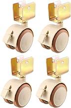 4 stks Caster 1.85Inch Swivel Caster Wheels U-Bracket Meubel Caster Twin Wheel met rem