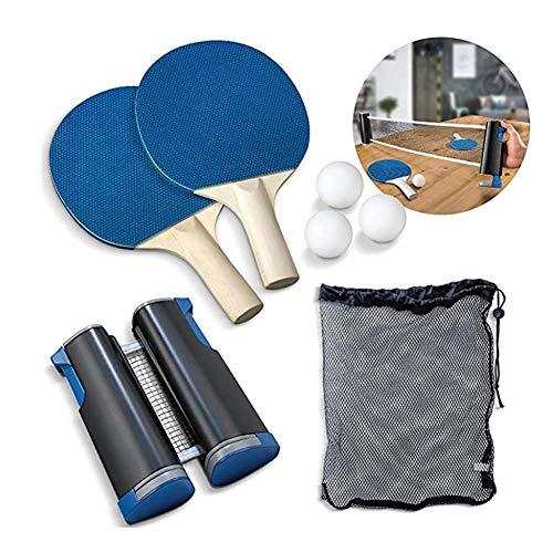 Portable Tafeltennis Set Met 1 Telescopische Net, 3 Tafeltennisballen En 1 Paar Rackets, Tafeltennis Training Accessoires, Kan Worden Vastgesteld Op Elke Desktop