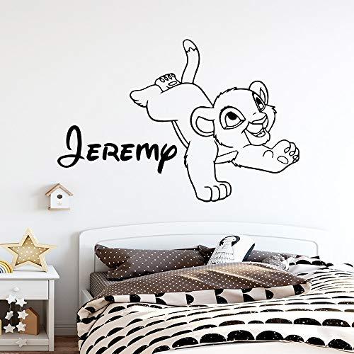 yaonuli Cartoon naam leeuw muursticker behang voor kinderkamer leeuw wanddecoratie baby sticker
