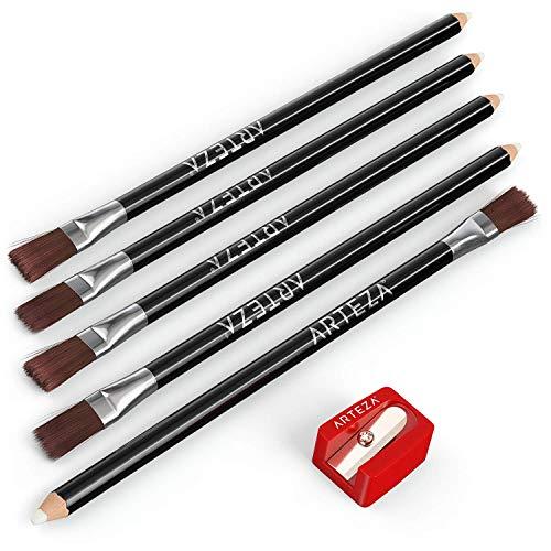 Arteza Lápices borradores de precisión con pincel | Set de 6 | Incluye 1 sacapuntas de bolsillo | Gomas de borrar sin PVC | Lápices de borrar, para eliminar detalles y difuminar sombras