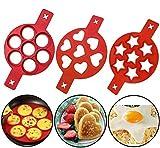 Photo Gallery 【2020 nuovo】stampo in silicone antiaderente, riutilizzabile silicone anello antiaderente per pancake anello per uova prepara rapidamente una torta per farti risparmiare tempo prezioso (3 pack)