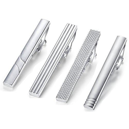 HONEY BEAR 4 Stück 5.4cm Herren Krawattennadel Set Krawattenklammer für Normale Krawatte Edelstahl Tie Clip,Silber (5.4cm für Normale Krawatte ohne Box)