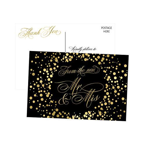 50 4x6 Black & Gold Modern Thank You Postcards Bulk, Cute Blank Thank You Cards From The New Mr. and Mrs. Thanks Note Card Stationery Set For Wedding Gifts, Bridesmaid, Bridal Shower, Engagement Party