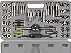 ORION MOTOR TECH 60-Piece Tap and Die Tool Set with SAE & Metric Sizes   Chromium Steel Home Improvement Tool Kit   Hand Tools Set for Mechanics   SAE & Metric Tap and Die Wrenches Incl.