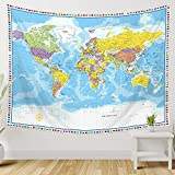 Large World Map Tapestry Wall Hanging Tapestry World Map For Kids Educational Tapestry With Country Flags World Map for Classroom Decor Kids Room Home Traveling Geography Students 60x80 In