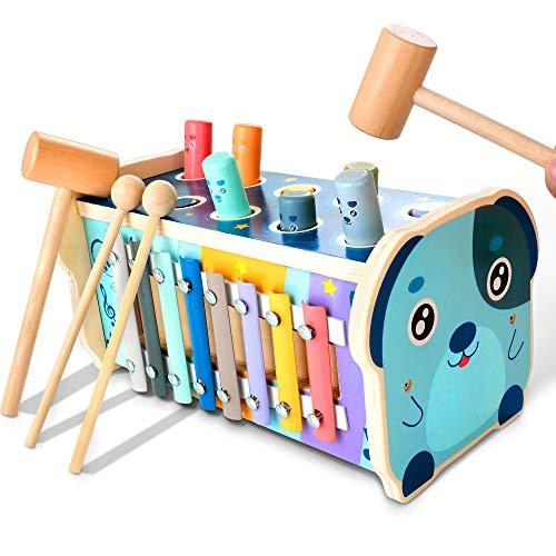 KIDWILL Xylophon und Hammerspiel, Pädagogisches Vorschullernen Holzspielzeug Musikspielzeug Lernspielzeug mit Xylophon & Labyrinth & Hämmern, Geschenk für Kinder Junge Mädchen ab 3 Jahr