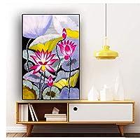 ピンクの蓮の花北欧のポスターとプリントキャンバス絵画壁の写真リビングルームの装飾壁アート家の装飾-50x70cmx1フレームなし