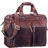 STILORD 'Jesse' Business Ledertasche Herren Damen Umhängetasche 15,6 Zoll Laptoptasche Bürotasche Aktentasche echtes Leder, Farbe:Cognac - Dunkelbraun