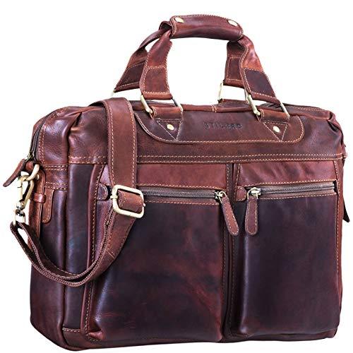 STILORD 'Jesse' zakelijke lederen tas mannen vrouwen schoudertas 15,6 inch laptoptas kantoortas echt leer, Kleur:cognac - donkerbruin