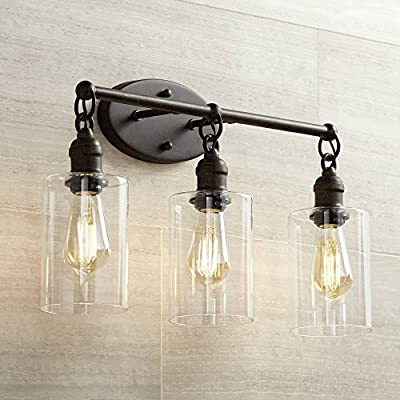 "Cloverly Industrial Rustic Wall Light LED Bronze Hardwired 21 3/4"" Wide 3-Light Fixture Clear Glass for Bathroom Vanity - Franklin Iron Works"