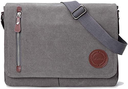PDD Vintage Canvas Satchel Messenger Bag for Men Women,Travel Shoulder bag 13.5' Laptop Bags Bookbag (Grey)