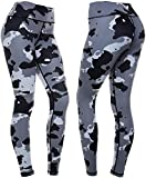 CompressionZ High Waisted Women's Leggings - Compression Pants for Yoga Running Gym & Everyday Fitness (Camo, Small)