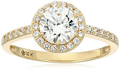 10k Gold Made with Swarovski Zirconia Round Halo Ring, Size 9