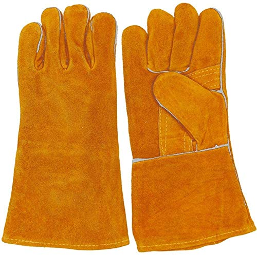 FZWAI Guantes de trabajo guantes de cuero guantes de trabajo guantes grandes accesorios for los soldadores de jardinería for Hombres Mujeres