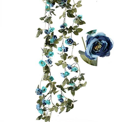 Felice Arts 2pcs Artificial Flower 7.2Ft Fake Rose Vine Green Leaf Hanging Vine Garland for Wedding Party Home Garden Wall Decoration-Blue