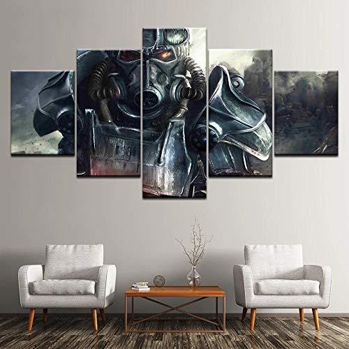 ELSFK Cuadros Modernos Impresión de Imagen Artística Digitalizada | Lienzo Decorativo para Salón o Dormitorio | Fallout 4 | 5 Piezas 150 * 80cm