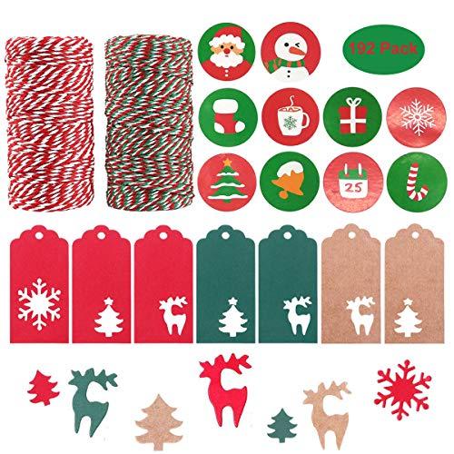 Kit de envoltura de regalos de navidad, 200 m de cuerda de algodón, 90PCS de árbol de Navidad, copo de nieve, diseño de reno, etiquetas de papel kraft para colgar, 100 etiquetas de regalo de Navidad