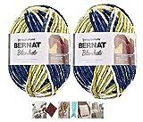 Big Ball Blanket Yarn 2-Pack Bundle by Bernat Plus 6 Blanket Yarn Patterns Super Bulky #6 10.5 Ounce Ball 220 Yards (Oceanside)