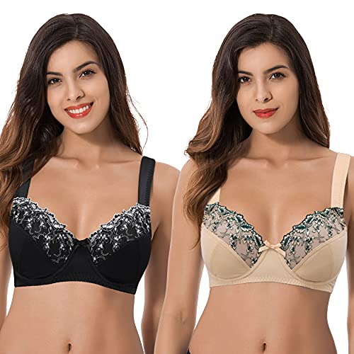 Curve Muse Womens Plus Size Minimizer Underwire Bra with Lace Embroidery-2 Pack-Nude,BLACK-36DDDD