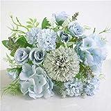 Artificial Flower Colorful Rose Beautiful Artificial Silk Fake Flowers Hydrangea Wedding Valentines Bouquet Bridal Decor